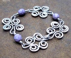 Aluminum Scrollwork Bracelet, Wire Wrapped Amethyst Glass Beads, Hand Forged Metalwork Bracelet