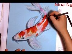 Art Drawing Koi Fish With Colored Pencil (Kohaku) Koi Fish Drawing, 3d Art Drawing, Fish Drawings, Pencil Drawings, Learn Drawing, Drawing Step, Drawing Sketches, Koi Kunst, Koi Painting