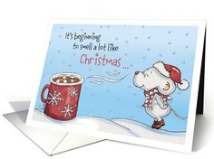 Cute Mouse Christmas Card - It's beginning to smell a lot like card by Gerda Steiner