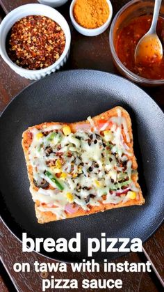 easy pizza bread recipe bread pizza recipe with instant pizza sauce Veg Recipes, Spicy Recipes, Cooking Recipes, Pizza Recipes, Turmeric Recipes, Paneer Recipes, Skillet Recipes, Snacks Recipes, Cooking Gadgets