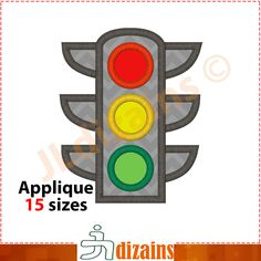 Traffic lights applique design. Machine embroidery design -INSTANT DOWNLOAD- 15 sizes. Traffic signals applique. Traffic light embroidery by JLdizains on Etsy or www.alldayembroidery.com