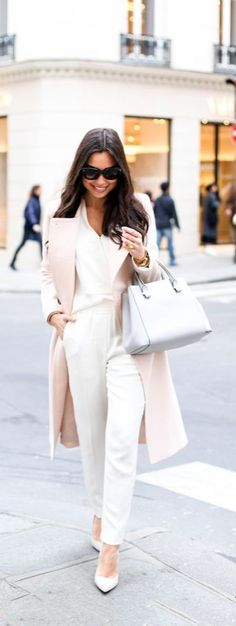 With Love From Kat's Blush pink Club Monaco coat, Theory silk blouse, 3.1 Phillip Lim cream trousers and SJP grey pumps in Paris.