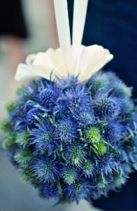 Blue thistle pomander - I sorta love a better executed version of this at the ends of each row.
