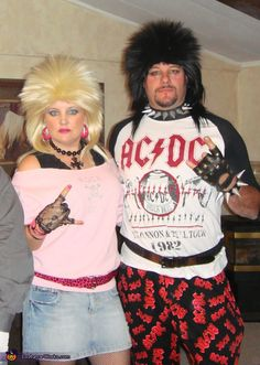 Hallowen Costume Couples Rockers - Halloween Costume Contest via 80s Rocker Costume, Eighties Costume, 80s Party Costumes, 80s Party Outfits, Funny Couple Halloween Costumes, Hallowen Costume, Halloween Costume Contest, Costume Ideas, Couple Costumes