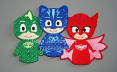 PJ Masks inspired Finger Puppets by HugsandStitchesEmbr on Etsy