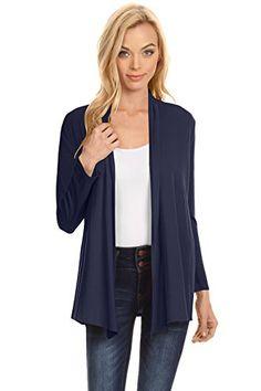 de0df89e2e956 Womens Open Drape Cardigan Reg and Plus Size Cardigan Sweater Long Sleeves  - USA