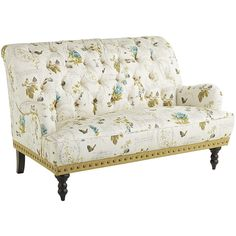 Chas Botany Green & Ivory Floral Loveseat