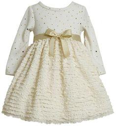 Ivory Gold Spangle Knit to Shimmer Eyelash Ruffle Dress GD2BU Bonnie Jean Todders Special Occasion Flower Girl Holiday BNJ Social Dress, Gold Bonnie Jean http://www.amazon.com/dp/B00GX1B6Q2/ref=cm_sw_r_pi_dp_fvyiub1MPXT9S
