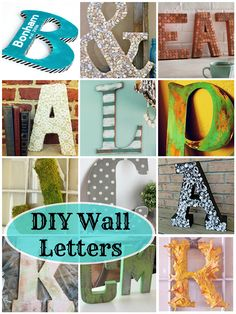can't wait to try these --> DIY Wall Letters: 16 Awesome Projects! Diy Letters, Letter A Crafts, Decorative Letters For Wall, Wall Letters Decor, Wood Letters Decorated, Cardboard Letters, Diy Wall Art, Diy Art, Decor Crafts