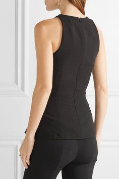 The Row - Tallo Lace-up Stretch-wool Peplum Top - Black - US12