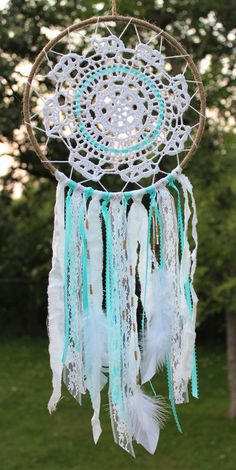 Bohemian Aqua Gold Doily Feather Dream Catcher by HandmadeMercantileCo on Etsy