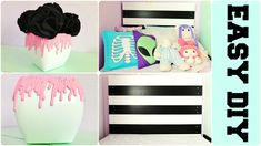 DIY Pastel Goth EASY Room Decor | Paint Drip Vase & Black & White Headboard |