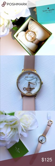 """NWTs Kate Spade You Wish Metro Watch NWTs Gorgeous latte colour Kate Spade You Wish Metro Watch. Watch details Beigeleather strap. White mother of pearldial with Gold tone genie lamp & hands. Three hands quartz movement."""" Face size 33mm, 3 ATM Water Resident. Retails around $206.00 it's the perfect way to add of whimsy to your everyday ensembles! kate spade Accessories Watches"""