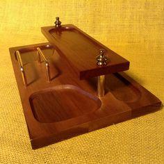 Vintage Mid-Century All Wood Desktop or Dresser Organizer