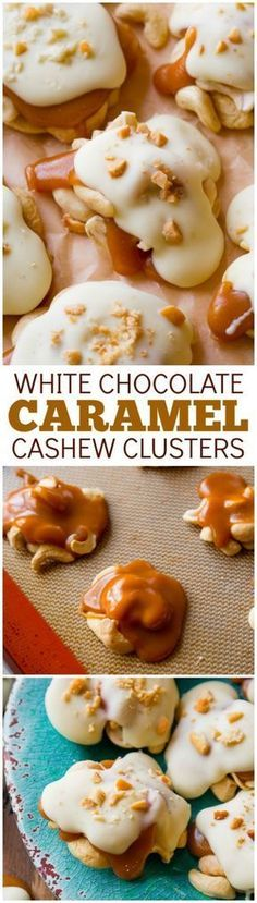 4 ingredient caramel cashew clusters! These candies are so easy and can be frozen for a simple make-ahead treat! Recipe found on sallysbakingaddiction.com