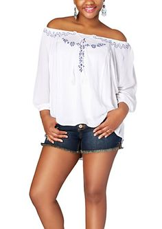 Plus Embroidered Peasant Top | rue21