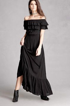 A crinkled woven maxi dress featuring an elasticized off-the-shoulder neckline, a layered flounce design creating the short sleeves, an elasticized waist, and a shirred skirt hem. This is an independent brand and not a Forever 21 branded item.