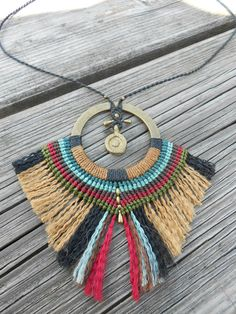 African style pendant. Macrame and brass beads by PrincipiArt