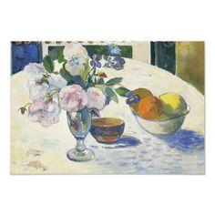 "Paul Gauguin - Flowers and a Bowl of Fruit Photo Print Size: 19"" x 13"". Gender: unisex. Age Group: adult. Paul Gauguin, Klimt, Best Canvas, Museum, Thing 1, Art Moderne, Wood Wall Decor, Art Google, Vintage Flowers"