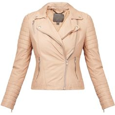 Muubaa Meursault Blush Leather Biker Jacket ($210) ❤ liked on Polyvore featuring outerwear, jackets, neutrals, padded leather jacket, rider jacket, fitted motorcycle jacket, genuine leather biker jacket and motorcycle jacket