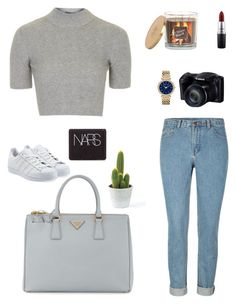"""""""Grey"""" by gimcdonnell ❤ liked on Polyvore featuring Michael Kors, Prada, Sonoma life + style, MAC Cosmetics, NARS Cosmetics and adidas Originals"""