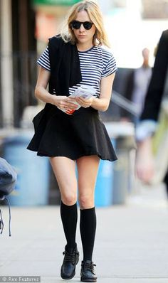 Chloe Sevigny flared skirt striped shirt