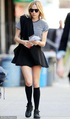 Chloe Sevigny flared skirt striped shirt