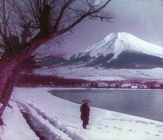 Fuji as seen in a hand-tinted glass lantern slide from the A cooling image on a warm summer day. From Photography in Japan: Beautiful Islands, Beautiful Places, Mount Fuji Japan, Mont Fuji, Turning Japanese, Go To Japan, Old Photography, Shizuoka, Win A Trip