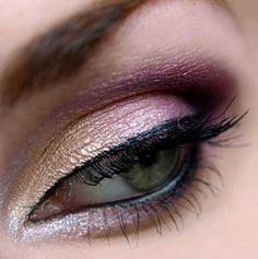 silver inner eye, thin black upper and wet line, fade from coppery-gold to pink/lilac and deep purple in crease