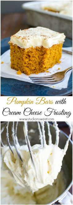 Pumpkin Bars with Cream Cheese Frosting. One of my favorite Fall dessert recipes! | www.stuckonsweet.com