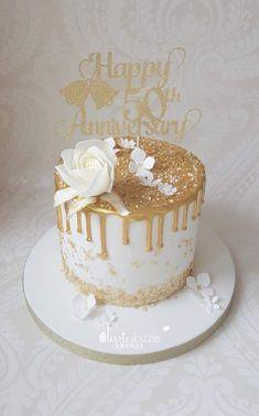 40th Birthday Cake For Women, Birthday Cake For Women Elegant, Golden Birthday Cakes, White Birthday Cakes, Elegant Birthday Cakes, 60th Birthday Cakes, Beautiful Birthday Cakes, 17th Birthday, Birthday Ideas