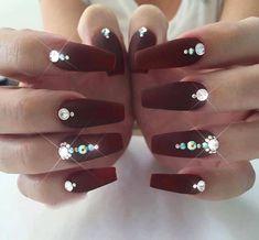 So pretty more diamond nail designs, diamond nails, matte nails, burgundy. Diamond Nail Designs, Diamond Nail Art, Nail Art Designs, Nails Design With Diamonds, Rhinestone Nails, Bling Nails, Bling Nail Art, Gem Nails, Fancy Nails
