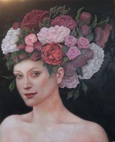 Regina di Fiori. Regina di Rose. Olio su tavola. 40 x 50 cm. Di Sara Calcagno, pittrice italiana