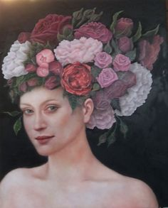 Queen of Flowers, oil on panel, 40 x 50 cm, by Sara Calcagno, italian painter