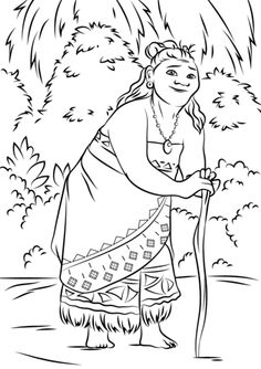 Gramma Tala from Moana Coloring page