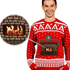 The BEST site for ugly Christmas sweaters for your holiday parties. Has a front pouch for your phone or iPod that makes it look like a real crackling fire. Other designs available too! Party domination!