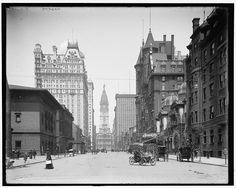 Philadelphia, year Broad Street, north from Spruce Street ,city hall. Philadelphia wall art print, Old Philadelphia photography. Philadelphia History, Old Pictures, Old Photos, Badass Pictures, Vintage Photographs, Vintage Photos, Las Vegas, Usa Cities, St Francis