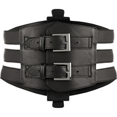 Kiki de Montparnasse Buckled leather waist belt (18,255 PHP) ❤ liked on Polyvore featuring accessories, belts, black, black belt, black leather belt, 100 leather belt, real leather belts and leather belt
