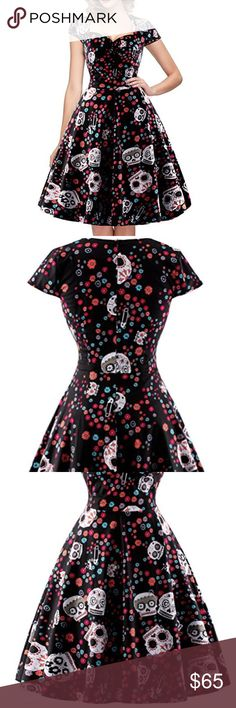 NWOT Black Printed Sugar Skull Retro Pinup Dress Brand new sugar skull dress with a vintage look. Zips up the back. If you want it to have a lot of flair at the bottom, add a petticoat underneath. Please refer to the last photo for a sizing guide for this particular dress. Dresses