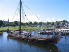 Viking ship replica Skuldelev 2 in Roskilde museum harbour