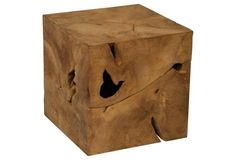 Root Cube Side Table, Brown