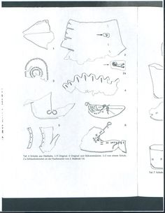 "Drawings of shoe fragments from Haithabu. From: Willy Groenman van Waateringe, ""Die Lederfunde von Haithabu"". Figure 5 appears to show some kind of embroidery. The author compares it with the decorated shoe from Staraya Ladoga (p.52)"