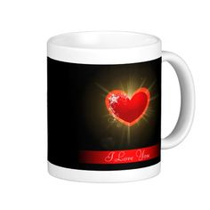Valentines Day I Love You Heart Light - This romantic yet dark Valentines Day mug has a red heart on a black background with light rays shining out of it. It says I Love You.