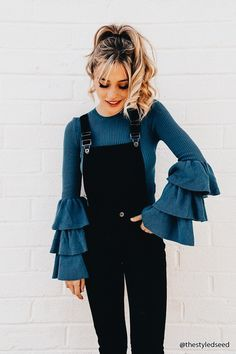 layered ruffles & overalls Street style, street fashion, best street style, OOTD, OOTD Inspo, street style stalking, outfit ideas, what to wear now, Fashion Bloggers, Style, Seasonal Style, Outfit Inspiration, Trends, Looks, Outfits.