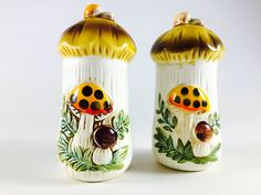 Vintage Merry Mushroom  Salt And Pepper Shakers Retro Orange Yellow Brown Toadstool 1960 1970 Kitsch Mid Century Kitschy Kitchen Decor - pinned by pin4etsy.com