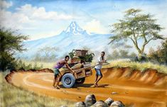 There are original African artists - and there is Geoffre Mugwe. In a class by himself, Mugwe has aligned himself with one particular gallery in Nairobi and Kenyan Artists, African Artists, African Paintings, Vegetables, Gallery, Roof Rack, Vegetable Recipes, Veggies