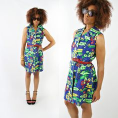 vintage 60s 70s PIXEL art floral MOD mini dress size M/L by PasseNouveauVintage, $26.00