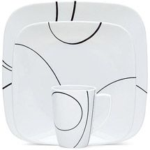 Walmart: Corelle Squares Simple Lines 32-Piece Dinnerware Set, Service for 8