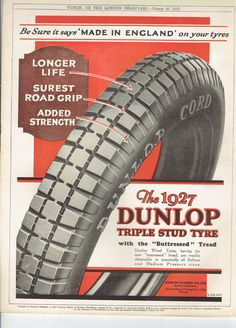 1927 Print Original Vintage Advert Motoring Dunlop Triple Stud Tyre Picture for Framing