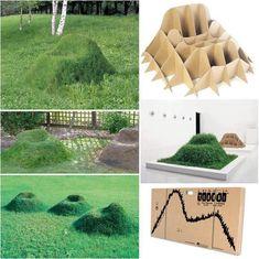Wieso nicht seine Gartenmöbel selber pflanzen?! Mit einem einfachen Pappgestell als Basis hat man dann hübsche Grasssessel.